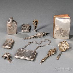 Nine Art Nouveau Silver Accessories